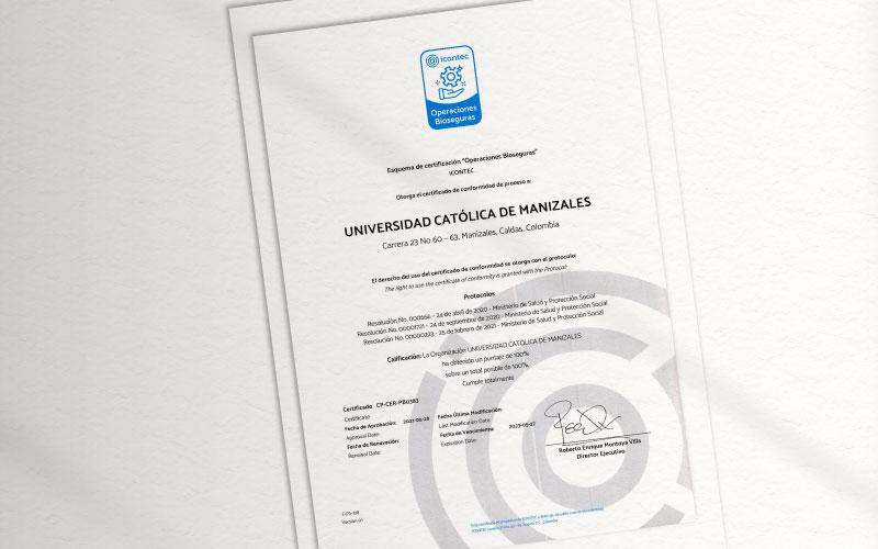 Certificado Icontec de la UCM en Operaciones Bioseguras